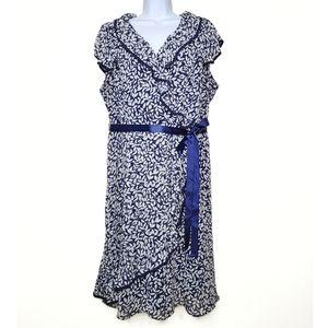 Dressbarn Faux Wrap Ruffle Leaf Print Dress